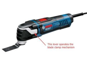 A lever on the side of the MX30E Multi-X allows for tool-free blade changing.