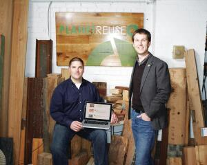 """Architects want to do the right thing when it comes to using reclaimed materials,"" says PlanetReuse founder and principal Nathan Benjamin (right), ""but they don't always have the time to do the research."" Operations manager Tim Bensman adds, ""We provide a professional face to these materials."""
