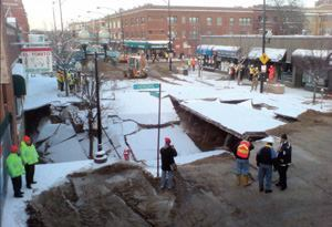 Even large cities like Chicago aren't immune to shortfalls in infrastructure  funding. In January, a 100-year-old water main broke in the city's Ravenswood  neighborhood; officials reportedly had known the 3-foot-diameter iron pipe  was at risk and in danger of failure. Photo: Ryan Pikkel