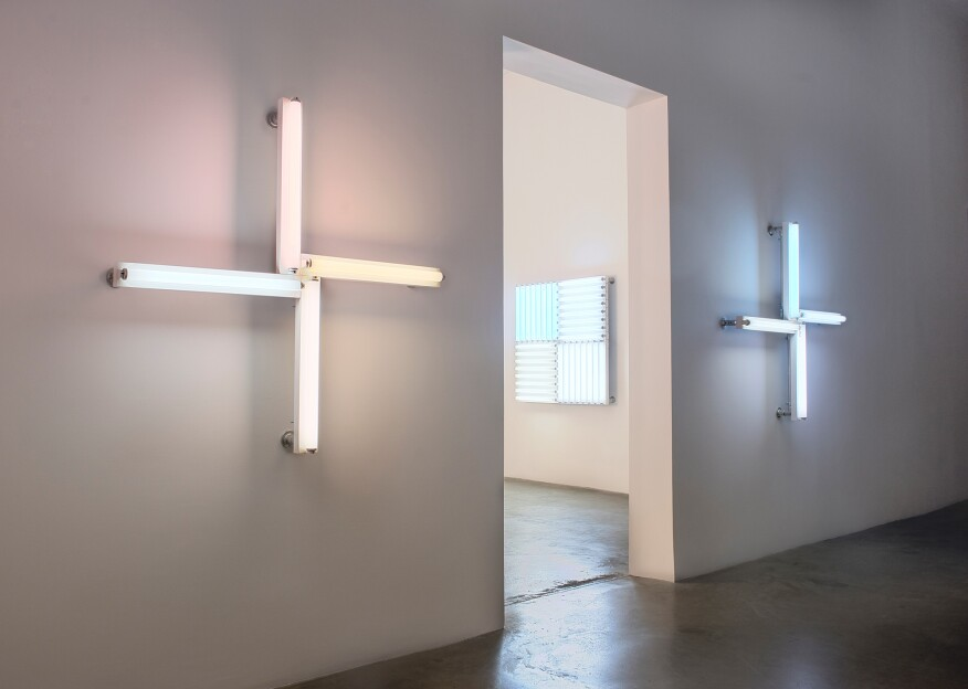 Installation view of Heather Carson's exhibition light/WHITE, 2016, at the Ace Gallery in Los Angeles.