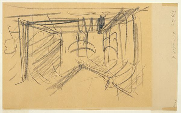 Perspective sketch by Kahn of the gallery interior (circa March 1967).