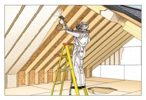 Top Gun:Applying foam insulation to the roof sheathing turns the attic into a tempered space that can reduce energy savings by 18% to 20% on a retrofit and help in new construction as well.