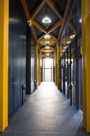 LONDON, ENGLAND - SEPTEMBER 9:  The lift lobby in the newly constructed skyscraper, The Leadenhall Building, on September 9, 2014 in London, England. The skyscraper, located in the City of London, has been dubbed the 'Cheesegrater' for its distinctive shape. The building stands at 224 meters high and was designed by 'Rogers Stirk Harbour + Partners'.  (Photo by Oli Scarff/Getty Images)