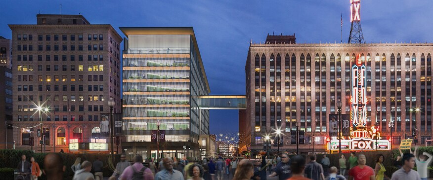 Rendering of the District Detroit Little Caesars headquarters