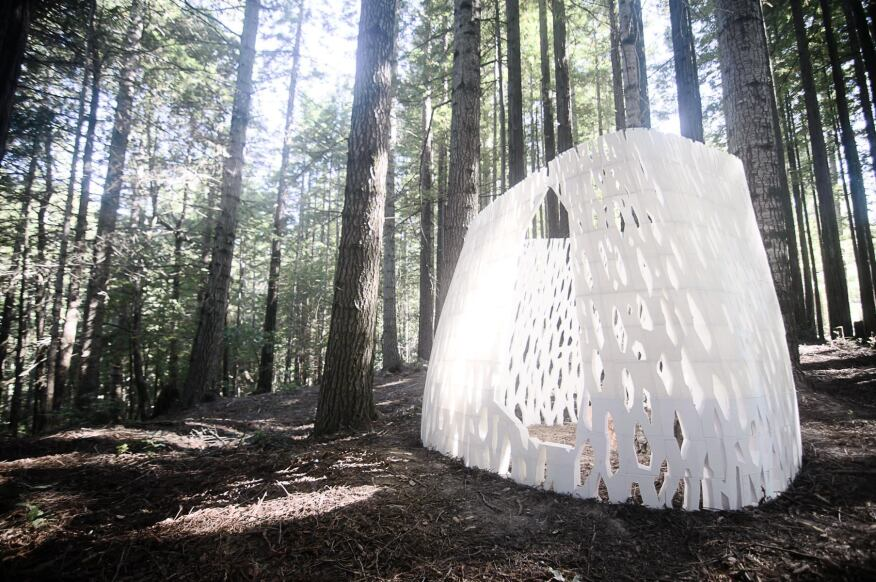 Smith|Allen's Echoviren shelter comprises more than 500 individually printed parts and was hand-assembled on site.