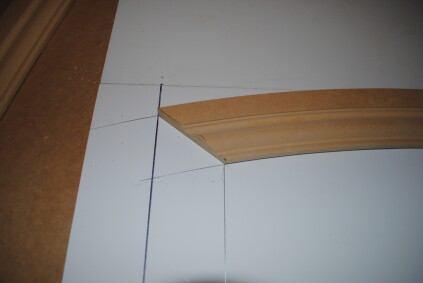 After cutting the miter set the arch back in place.