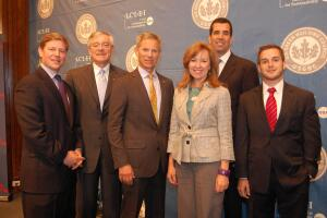 Pictured left to right: Jason Hartke, vice president of national policy, USGBC; George Heartwell, mayor, Grand Rapids, Mich.; Ralph Becker, mayor, Salt Lake City; Kristin Jacobs, vice mayor, Broward County, Fla.; Michael Schmitz, executive director, ICLEI USA; and Jordan Doria, manager of stakeholder engagement, Ingersoll Rand.