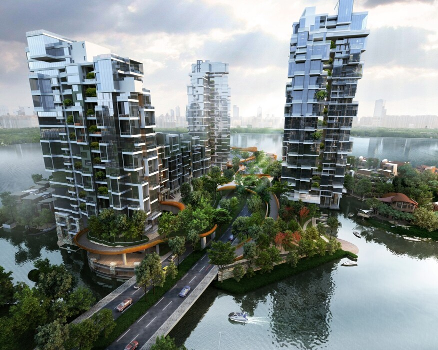 Floating High Rise Community Brings Green Space In