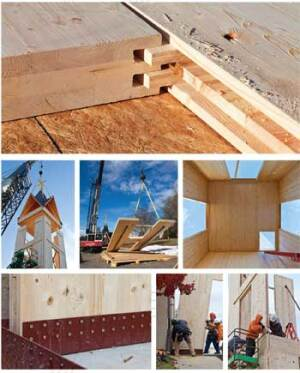 ON THE RISE: Cross-laminated timbers are rapidly becomng popular for mid-rise construction projects in Europe, but they have yet to make an impact here. One of the first examples of their use in the United States is a bell tower constructed in Gastonia, N.C.