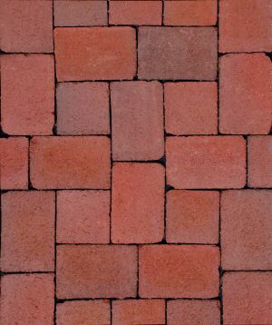 "CityCobble pavers from Pine Hall Brick were made to look like genuine cobblestone bricks. The natural clay pavers come in two sizes—5-1/3"" square and 5-1/3"" x 8"" rectangle—with a 'rumbled' treatment that gives them their authentic appeal. CityCobble comes in a tannish-red Siesta and a dark brown Mahogany.  pinehallbrick.com"