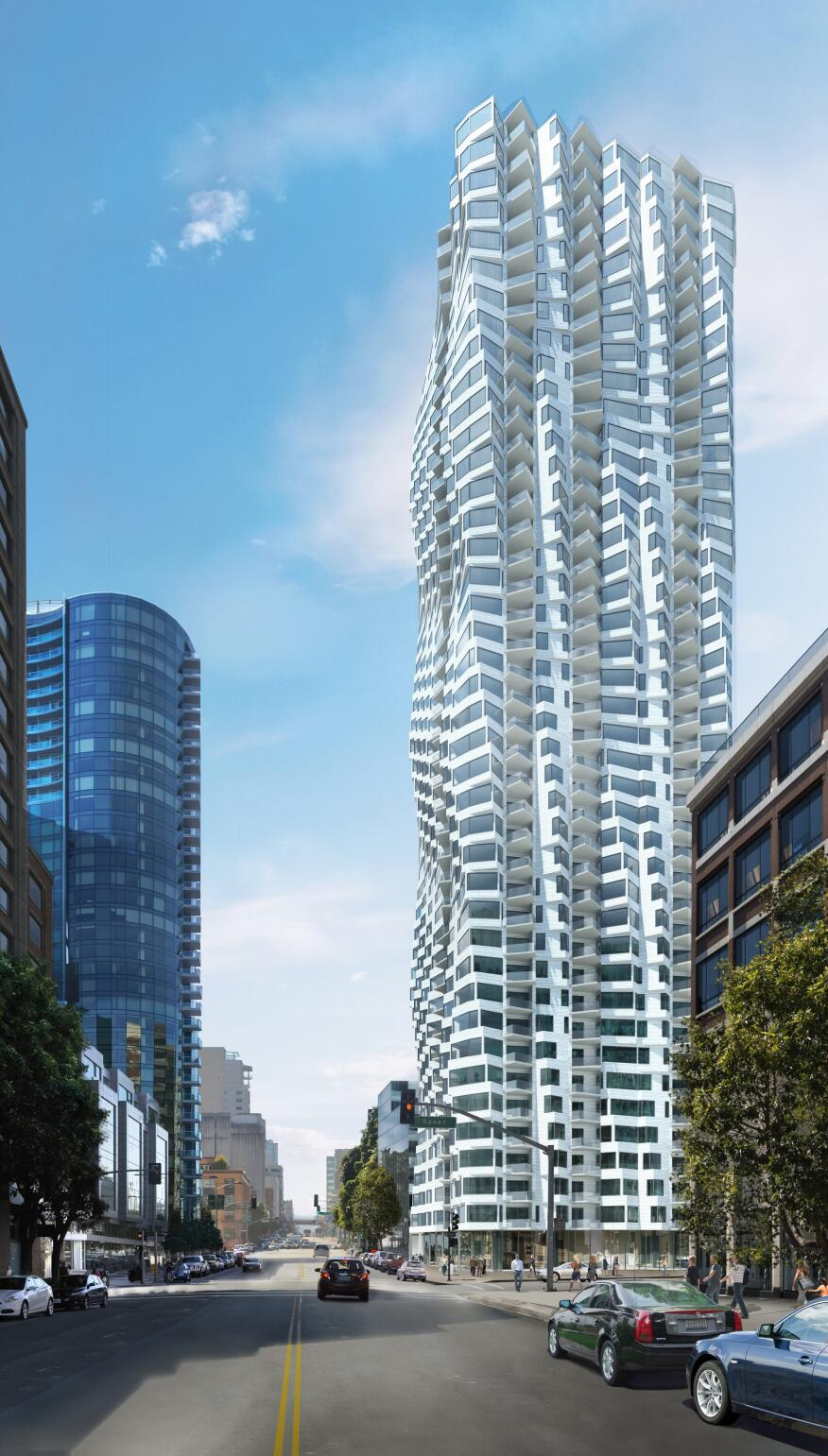 Preliminary renderings of Folsom Street Tower in San Francisco, by Studio Gang Architects, highlight its torquing form, thanks to bay windows that rotate in plan as the building rises.