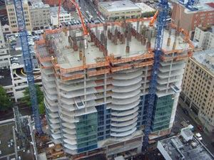 Escala, an 830,000-sq.-ft., 31-story residential tower in Seattle completed in 2009 features 20,000-sq.-ft. post-tensioned concrete floors.