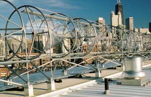 520H Aeroturbine  Aerotecture International  aerotecture.com  Composed of two 510-volt turbines joined horizontally by a shared alternator    Can be bolted or ballasted down horizontally    Requires a dominant wind direction    Custom built to fit the architecture of a building    Nationwide distribution anticipated in 2009