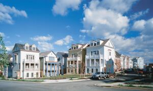 These detached townhouses grab outdoor space withprivate porches and a common green.