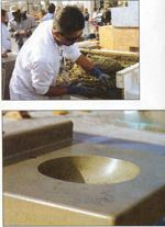 "Top: Buddy Rhodes is known for his ""hand pressed"" method of casting countertops. Bottom: The voids left by the hand-pressed concrete are filled with a slurry of a complementary color and then diamond polished."