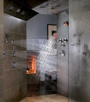 SHOWER POWER: Make WaterTile bodysprays a part of your universal design package. The tiles can be installed at different heights on a wall or ceiling or at an angle at the intersection of the wall and ceiling to accommodate residents' needs. In addition to more functionality, the product offers a clean look. A wall-mount showerhead also is available. Both models come in two spray intensities.