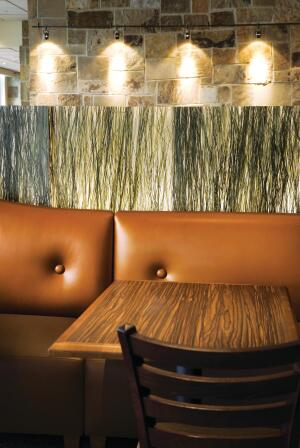 "The Veritas Botanical Series of decorative Resinart panels features PureColor technology, flexible hardware systems, and precise fabrication. Texture, interlayer, and color options, such as the Savannah 1/4"" panels (shown), offer customization for creating the most appropriate panel for such commercial installations as healthcare, hospitality, retail, education, and office space. Seven hardware systems offer solutions that can join, suspend, or render forms movable within ceiling panels, feature walls, balustrades, and furniture. Veritas panels are GreenGuard certified for indoor air quality. veritasideas.com"