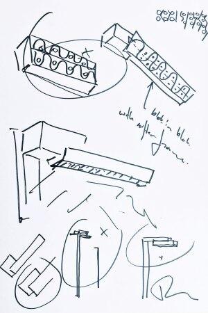 Architect Ben van Berkel's sketches for the NightSight family of luminaires.