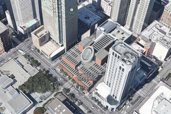 Google Maps image of the SFMOMA expansion site and the Botta-designed building on San Francisco's Third Street.