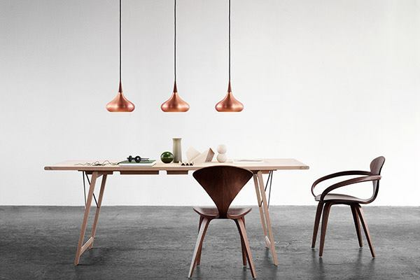 Part of the Danish design boom of the 1960s, this pendant from Lightyears was originally created for Fog & Morup 50 years ago. Consisting of a copper body and a rosewood top, the fixture is crowned with 24 slits for light permeation. The 370mm-tall pendant comes in diameters of 225mm and 340mm. Both use a 75W E27 lamp and will be available this August. lightyears.dk