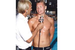 The champ: After breaking the U.S. record in the 400m freestyle at the 1986 World Championship Trials, Jorgensen speaks with ESPN. Today (inset) he's vice president of sales at S.R. Smith.