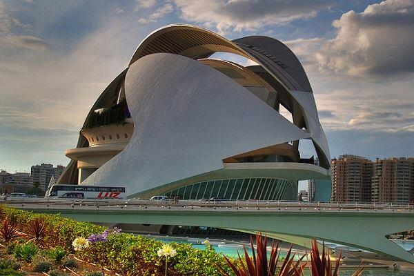 The Valencia opera house designed by Santiago Calatrava