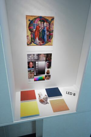 Different fabric and paint swatches as well as wood laminates and veneers were studied under the different test lamps to evaluate how the materials and color responded to the LED sources.