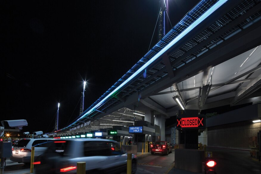 Designed by Höweler + Yoon Architecture, the Double Horizon lighting installation at the San Ysidro Land Port of Entry, near San Diego, Calif., broadcasts real-time traffic data through a 520-foot-long linear array of LEDs.