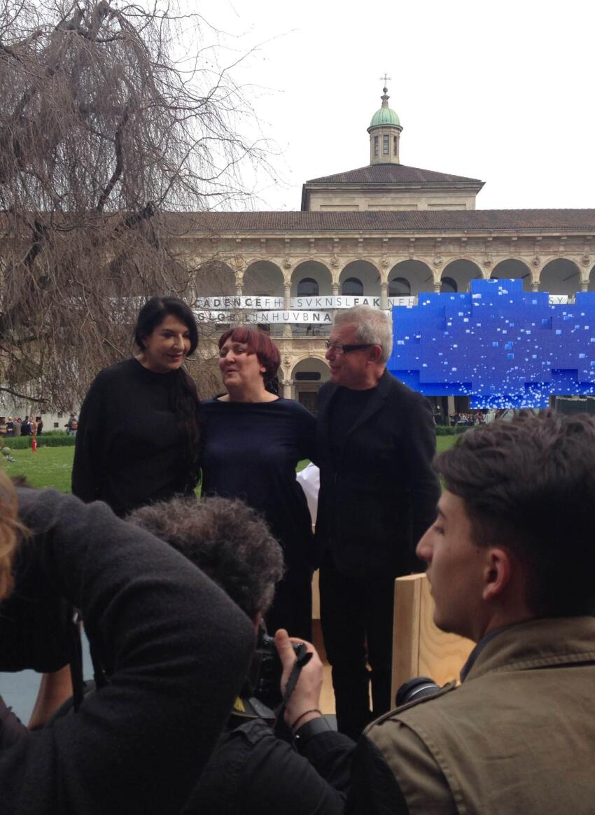 Maria Abramovic, Daniel Libeskind, and friend.