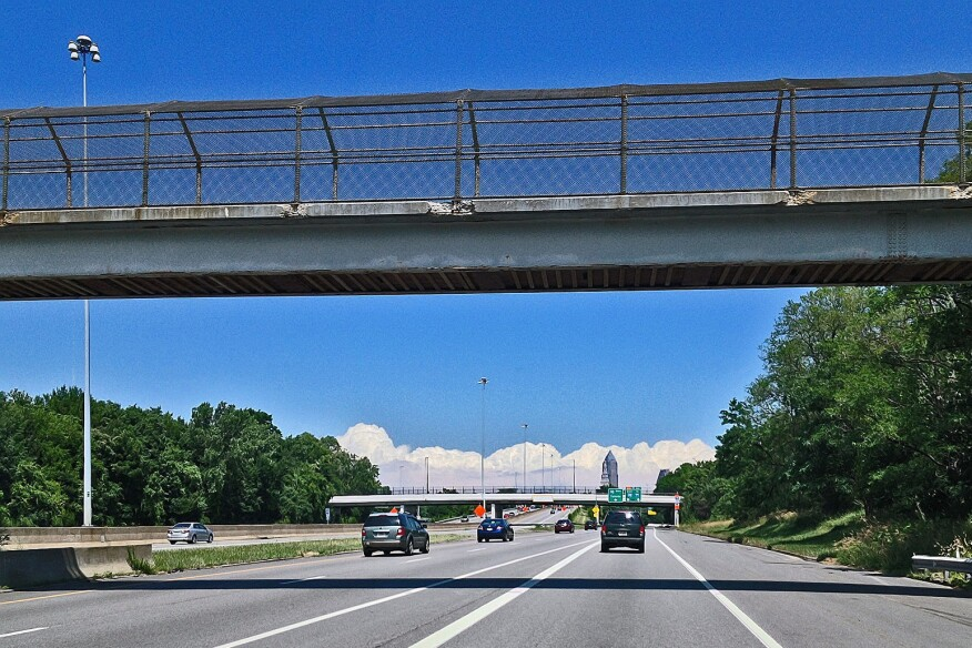 Crumbling pedestrian bridge over Interstate 71 in Cleveland (2014)