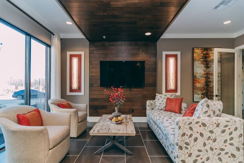 TDK Construction has kept baby boomers in mind while designing 3343 Memorial in Murfreesboro, Tenn. The project, whose clubhouse lounge is shown here, offers the walkability of an urban development in a suburban locale.