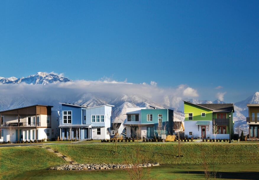 New Frontiers Solaris is part of a walkable, mixed-use community in South Jordan, Utah.