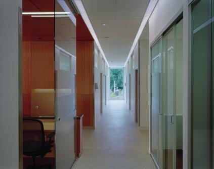 Wherever possible, hallways maintain views to the outside.