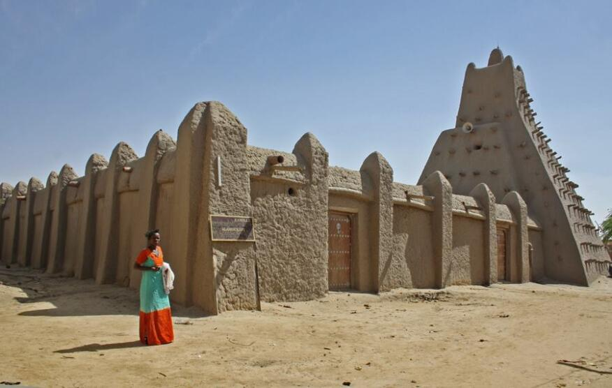 Sankoré mosque in Timbuktu, one of Mali's cultural heritage sites. Image taken in August 2013.
