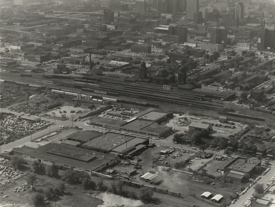 An aerial view of the Terminal Station in 1958, photographed by A. C. Keily.