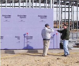 Gold Bond e2XP exterior panel  National Gypsum  www.nationalgypsum.com  Mold- and moisture- resistant    Designed for installation on sidewall and soffit framing as a water-resistant underlayment, in a curtain wall or EIFS, or under metal, vinyl, wood, or fiber-cement finishes    Works with wood and metal