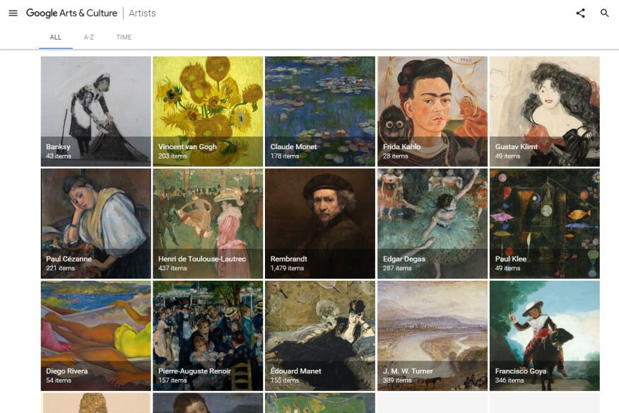 A screenshot of the Google Arts & Culture app as viewed in a Web browser.