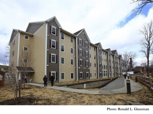 The 74-unit Highridge Gardens features 50 permanent supportive housing units. (Photo by Ronald L. Glassman)