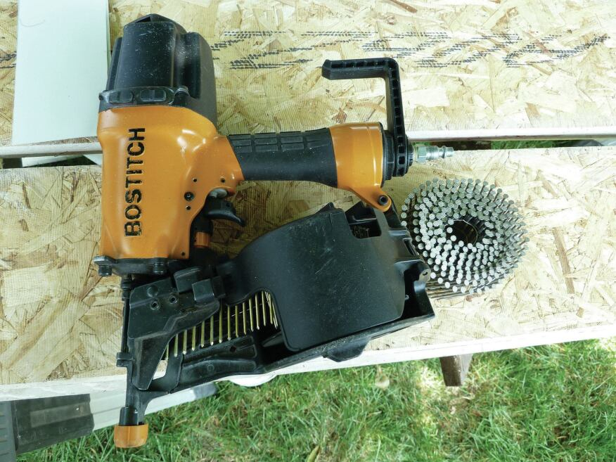 A coil siding nailer is a must for fastening denser siding or trim products. Most shoot nails in lengths from 1 1/4 inches to 2 1/2 inches (5d to 8d), and a few can fire 3-inch (10d) nails.