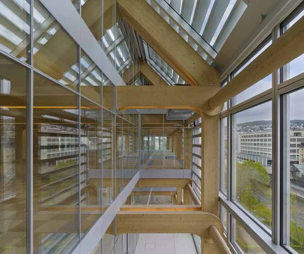 Shigeru Ban Architects' headquarters for Swiss media group Tamedia was one of 10 mass-timber projects in Europe and Canada whose project teams were surveyed for a new report on best-practices in tall-wood construction.