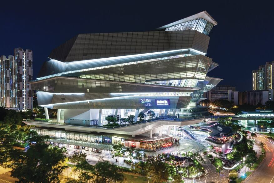 The Star is sited in the One North development in Singapore, and brings new retail, restaurants, and an entertainment venue to the business and residential neighborhood.