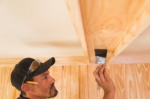 7 – Stain and TrimUse a wood filler to fill in all visible nail holes. If staining, make sure to use a stainable filler. Scrape away excess with a putty knife, sand the beams, and then paint or stain. Mud and paint the drywall and install light fixtures.