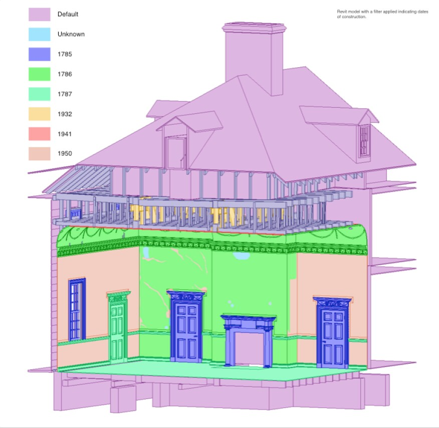 Revit model of Mount Vernon showing eras 