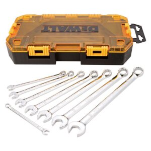 This SAE set (DWMT73809) contains 8 combination wrenches: 1/4, 5/16, 3/8, 7/16, 1/2, 9/16, 5/8, 11/16.
