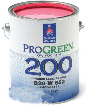 ProGreen 200 interior latex coating    Benjamin Moorewww.benjaminmoore.com  Does not contain solvents that release VOCs into the air, making for an extremely low VOC content    Has virtually no odor during application    Dries within two hours    System includes a primer and three topcoat finishes: flat, eggshell, and semigloss    Offered in white and more than 1,000 custom colors