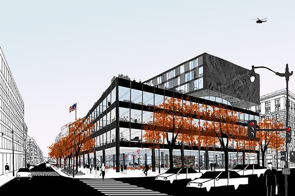 An early rendering of a three-story addition design, released in May of 2014.