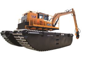 JCB engineered its 85Z excavator and Wetland Equipment undercarriage and pontoons so the machine operates on water just as it would on land, with the ability to dig and turn 360 degrees.