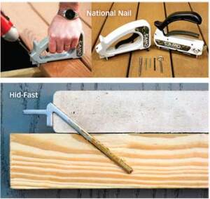 NEW ANGLE: National Nail and HidFast drive fasteners through the side of the deck board without an appending clip. Inventor Glenn Tebo says the HidFast shoots its collated fasteners eight times faster than a drill driver and bulk screw. National Nail's Camo system does the job in 15-20 seconds per joist.