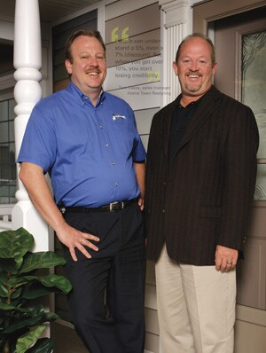 Tom Casey (left) sales manager of Home Town Restyling, in Hiawatha, Iowa, with company owner Wayne W. Winn. Theirs is one of many home improvement firms that no longer uses big discounts to persuade homeowners to buy.