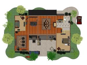 The floor plan illustrates the openness of the house's interior spaces.